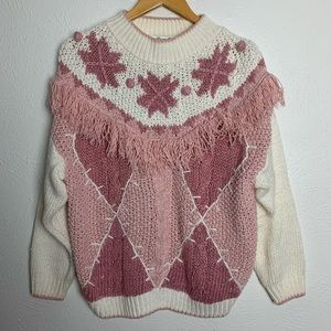 Vintage 80's Margules Pink & Cream Knit Sweater